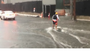 Man Paddles and Surfs Through Flooded Honolulu Streets - Video