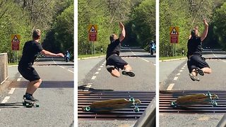 Daredevil dad's skin left 'hanging off' after skateboard vs cattle grid sends him on 40mph nose dive - Video