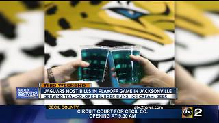 Jacksonville serving teal-colored food, beer for playoff game - Video
