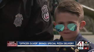 'Officer Oliver' brings special pizza delivery