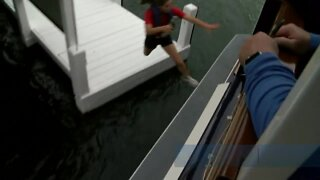 Young people try out for boat jumping