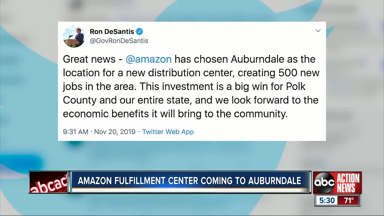 Amazon to build distribution center in Auburndale, creating hundreds of jobs