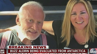 Buzz Aldrin being evacuated from Antarctica after falling ill