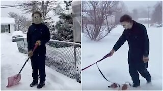 Nova Scotia Man That Is So Done With Winter Dresses Up As Michael Myers