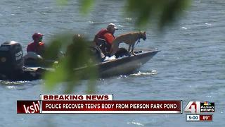 Teen's body recovered from pond at Pierson Park - Video