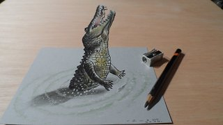 How to draw a 3D jumping crocodile - Video