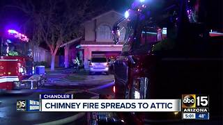 Chimney fire extends to attic in Chandler - Video