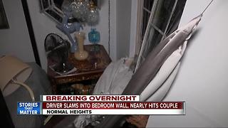 Driver slams into bedroom wall and nearly hits sleeping couple - Video