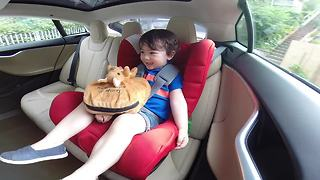 Kid thrilled by Tesla's impressive acceleration - Video