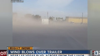 Wind blows over trailer near Las Vegas Strip