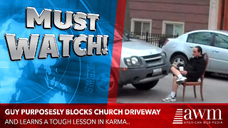 He Didn't Expect THIS After Blocking A Church Parking Lot - Video