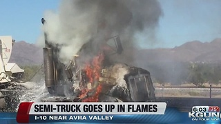 Tractor trailer fire on EB I-10 between Avra Valley and Twin Peaks - Video