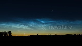 Beautiful noctilucent cloud display in Northern Ireland