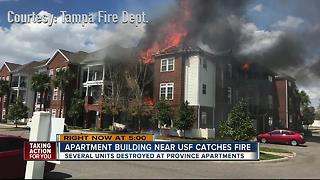 3-Alarm fire burning at Province Apartments near USF - Video