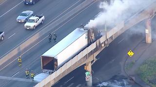 Semi fire closes westbound I-70 near Purina plant - Video