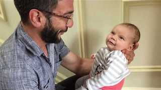 Dad Makes His Tiny Baby Smile With Lovely Story - Video