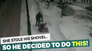 Woman Thinks She's Entitled, Steals Neighbor's Shovel. Quickly Learns The Meaning Of Regret - Video
