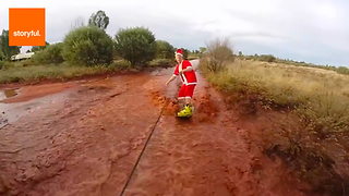 Santas Sleigh Across Flooded Uluru - Video