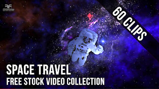 SPACE TRAVEL Stock Video Footage Collection : Space Universe & Astronaut Spaceship. Royalty Free