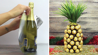 DIY Champagne and Ferrero Rocher pineapple - Video