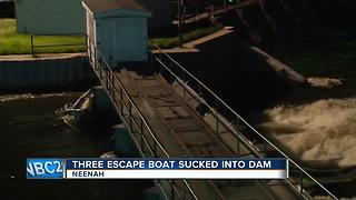 three escape boat sucked into Neenah Dam - Video