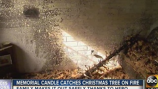 Memorial candle sparks Christmas tree fire in Phoenix - Video