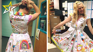 Teacher Allows Students To Draw On Her Dress As A Keepsake From The School Year - Video
