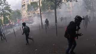 Paris Labour Reform Protest Shrouded in Tear Gas - Video