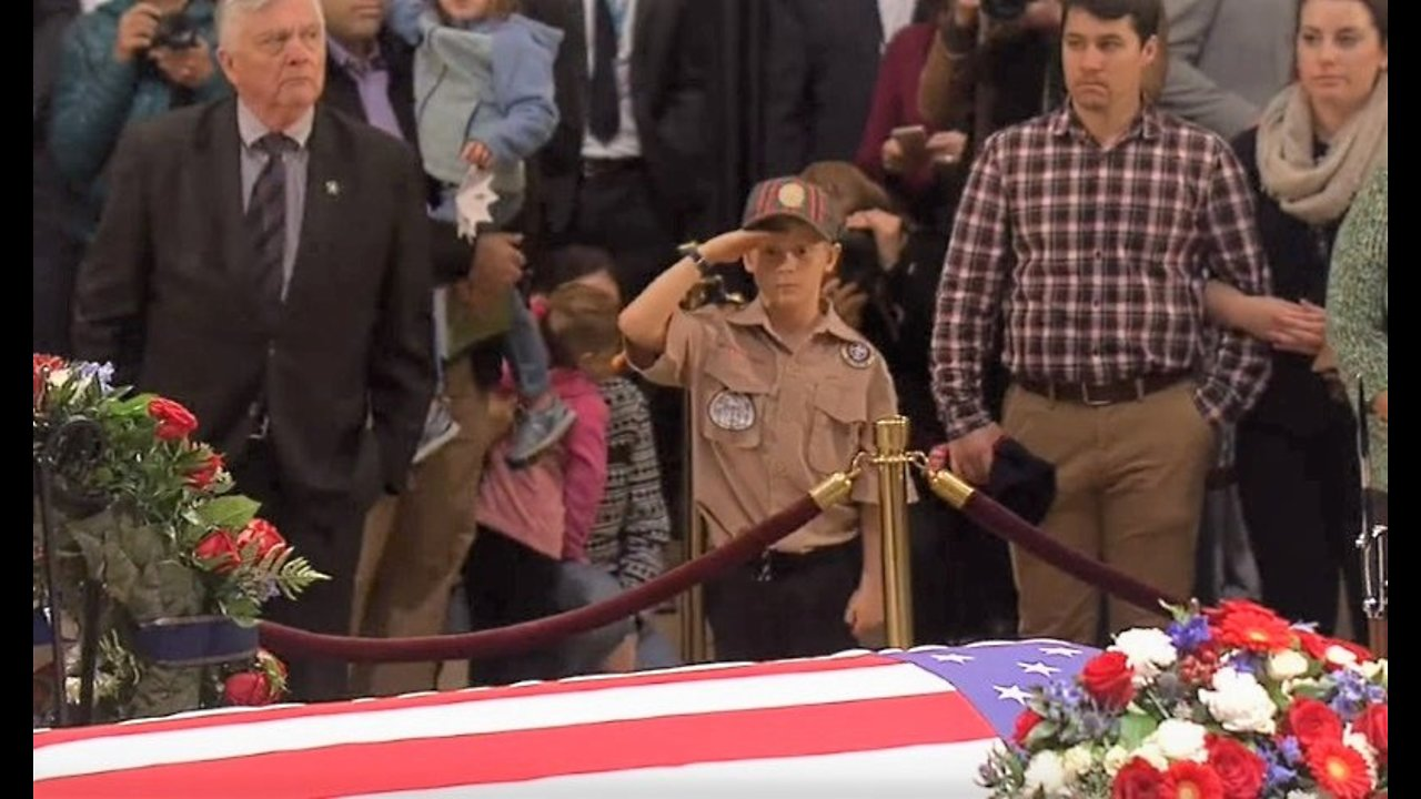 Michael Berry - Boy Scout salutes George H.W. Bush