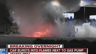 Fire engulfs car at a Kearny Mesa gas station - Video