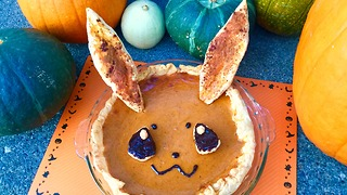 Super Easy & cute pokemon Eevee pumpkin pie recipe! - Video
