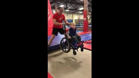 Who says you can't jump on a trampoline in a wheelchair?