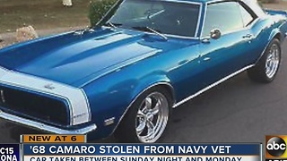 Veteran's Camaro stolen from parents' Mesa driveway - Video