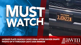 License Plate Quickly Goes Viral After Driver Snaps Photo Of It Through Car's Side Mirror - Video
