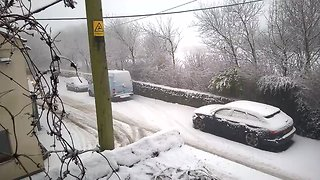 Snow Covers Streets Amid Severe Weather Warning in Lancashire - Video