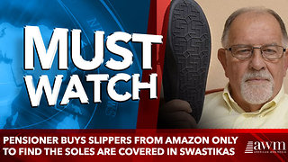 Pensioner buys slippers from Amazon only to find the soles are covered in SWASTIKAS - Video