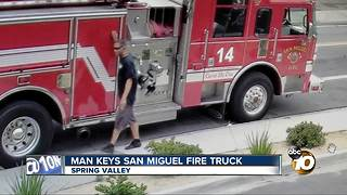 Surveillance video captures man keying San Miguel Fire truck - Video