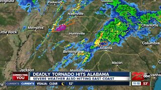 Deadly tornado hits Alabama, severe weather also hitting East Coast