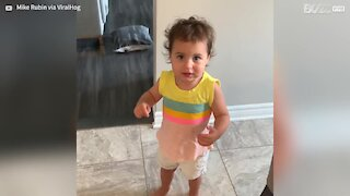 Baby daughter has wonderful argument with dad