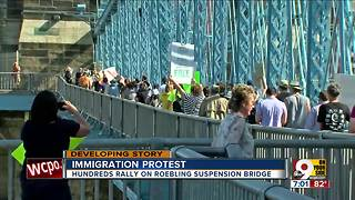 Immigration protest on Roebling Bridge - Video