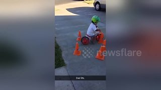 Toddler son in learning to ride bike fail - Video