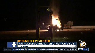 Car bursts into flames after flipping over in La Mesa