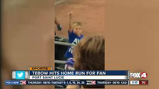 Tebow hits homer for fan - Video