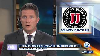 Jimmy John's delivery man hit by Miami officer, gets jailed - Video