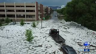Fort Collins streets flooded with water, hail after quick-moving thunderstorm - Video
