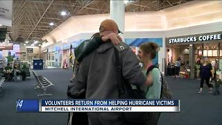 Volunteers return home from helping Hurricane victims - Video