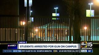 Mesa students arrested for gun on campus - Video