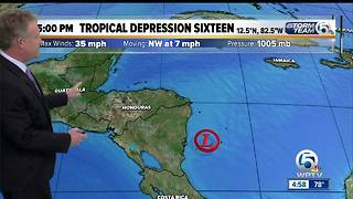 Tropical Depression Sixteen forms in the Caribbean - Video