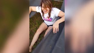 """Girl Shows An Amazing Trampoline Trick"""