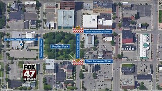 Lane closure in downtown Lansing